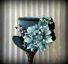 Mini Top Hat, Blue Flower Hat, Alice in Wonderland, Mad Hatter Hat, Steampunk, Tea Party Hat, Fascinator, Kentucky Derby Hat - pinned by pin4etsy.com