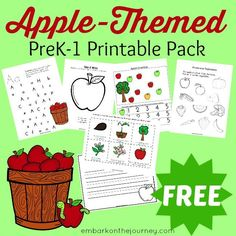 Free Apple-Themed Printable Pack  Download a free apple-themed printable pack for Pre-K through 1st graders.
