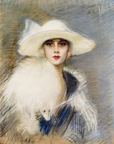 oil painting: woman with large black hat