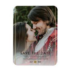 #elegant - #Save The Date | Stylish Typography & Gold Photo Magnet