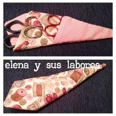 Funda para 3 tijeras hecho a mano. Más información: http://elenaysuslabores.blogspot.com.es/