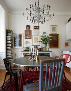 This is a design From dwell studio ... Thought it was very similar to your eating area . I love the art wall and finishes on the table . Modern eclectic