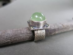Prehnite Peridot Cocktail Ring Sterling Silver Ring size 8.25