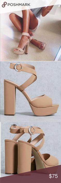 "Nude Chunky Heel Sandals 98% Pu + 2% Metal Imported Synthetic sole Platform measures approximately 1.25 inches Heel measures approximately 5"" Block heel Platform sandal *Note: While this brand is owned by Call it Spring and sold at ASOS, some Of these pieces can be purchased at other retailers. ASOS Shoes Sandals"