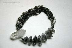 Herkimer Diamond Crystal Chain Bracelet by HedonistINC on Etsy