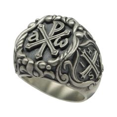 Knights Templar IHSV Alfa Omega Chi Rho Sterling Silver 925 men's Ring US Sizes