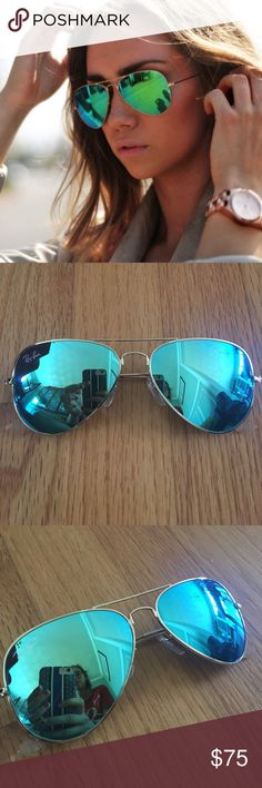 TODAY ONLY Ray ban flash blue green aviators ✨ Super cute blue green ray Ban aviators with reflective mirror lenses! Genuine ray ban, comes with original case and cleaning cloth. One scratch on left lens (see third photo) but not noticeable when on! Perfect for summer :) comes from a smoke free home, i ship out same day, and CHEAPER on mer(cari) or off app! AVAILABLE THIS WEEK ONLY so reasonable offers accepted! Ray-Ban Accessories Sunglasses
