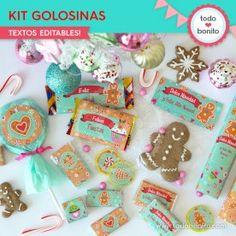 Dulce Navidad: kit etiquetas de golosinas Sugar, Cookies, Breakfast, Desserts, Diy, Food, Happy Holidays, Food Cakes, Cellophane Bags