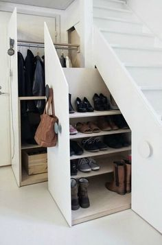 Unusual Storage Ideas For Under Stairs. Here are the Storage Ideas For Under Stairs. This post about Storage Ideas For Under Stairs was posted under the Furniture category by our team at February 2019 at pm. Hope you enjoy it and don& forget to . Closet Under Stairs, Space Under Stairs, Under Stairs Cupboard, Basement Stairs, Shoe Storage Under Stairs, Under Staircase Ideas, Toilet Under Stairs, Living Room Under Stairs, Under The Stairs