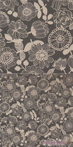 strong grey oxford cotton fabric with floral print, cream and grey round flowers with stripey petals and dotted centres, leaves and berries, Material: 100% cotton #Cotton #Oxford #Flower #Leaf #Plants #JapaneseFabrics