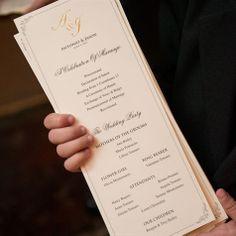 Elegant Wedding Program - I like the gold backing on this, our ...