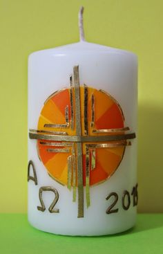 Church Candles, Pillar Candles, Nativity, Upcycle, Blog, Easter Candle, Party, Decorated Candles, Paintings