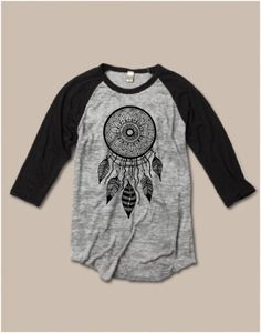 Womens Unisex Sizing Dream Catcher Screen Print Top Long Sleeve Raglan BURNOUT Baseball Tee Alternative Apparel S M L XL more Colors  A classic tee