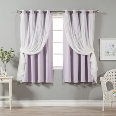"""August Grove Braswell Blackout Thermal Curtain Panels Color: Lilac, Size: 63"""" L x 52"""" W"""