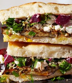 Roasted Eggplant and Pickled Beet Sandwiches - Bon Appétit. Made with quick pickled beets and goat cheese. Vegetable Recipes, Vegetarian Recipes, Healthy Recipes, Vegetarian Sandwiches, Healthy Snacks, Picnic Sandwiches, Going Vegetarian, Vegetarian Breakfast, Vegetarian Dinners