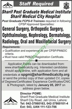 Post Graduate FcpsIi Trainees Sharif Medical City Hospital Jobs