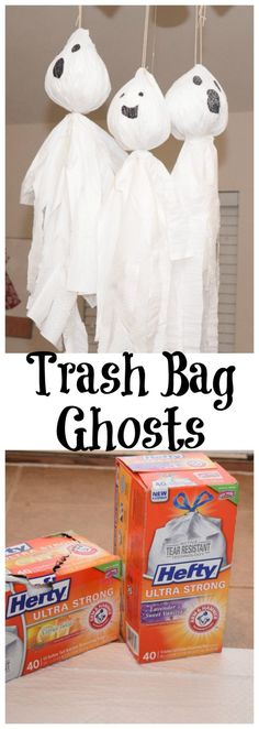 DIY easy Trash Bag Ghosts for Halloween!  $1 off coupon https://ooh.li/cb10253  #AD #HeftyHeftyHefty #HeftyHelper
