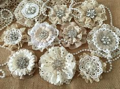 10 shabby chic vintage lace handmade flowers by PinKyJubb on Etsy