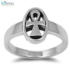 Sideways Ankh Egyptian Cross Religious Band Ring Solid 925 Sterling Silver Plain Simple 3mm Band Religious Ring Size 4-16