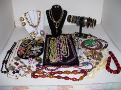 Huge 100 Piece Vintage Rhinestone Crystal Beaded Signed Jewelry Lot STERLING  #KramerTrifariCoroNapierLisnerMonetSarahCov