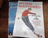 2 Vintage Sports Illustrated Magazines, November 1957 and December 1957, Old Back Issues, Skiing Covers, Sports Magazine