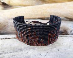 Black and Bronze Macrame Bangle,City Knotted Wristband,New York Micro Macrame Wide Bracelet,Bronze Metallic Waxed Thread,Black Waxed Thread
