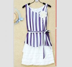 Sleeveless Stripe Chiffon Dress Deep Blue LM12061505-1http://www.clothing-dropship.com