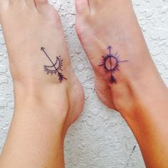 "Best friend tattoos! We just got this done and we absolutely love it. ""An arrow can only be shot by pulling it backward. So when life is dragging you back with difficulties, it means that it's going to launch you into something great."" Plus the night and day to symbolize our differences #tattoos"
