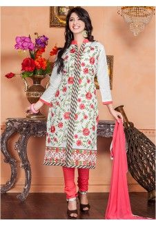 White Embroidered Dress Material