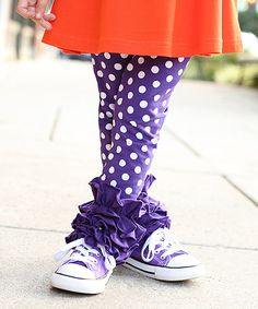 Look at this #zulilyfind! Sew Sassy Boutique Purple & White Polka Dot Icing Leggings - Infant, Toddler & Girls by Sew Sassy Boutique #zulilyfinds