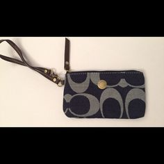 Blue/Denim Coach Wristlet Blue/Denim Coach Wristlet. Beware - Possibly not authentic!  Very good  condition.  Used only a couple times Coach Bags Clutches & Wristlets