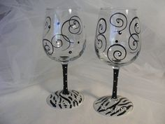 hand painted wine glass with black and white zebra print, swirls and polka dots - can be personalized