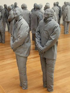 """'Many Times' by Juan Muñoz  ...Part of the """"Retrospective"""" exhibition by Juan Muñoz at Museo Reina Sofia in Madrid, Spain with many, many statues...     - photo by Eudora Porto"""