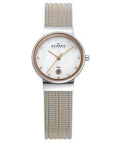 Skagen Denmark Watch, Women's Two Tone Stainless Steel Mesh Bracelet 26mm 355SSRS - Women's Watches - Jewelry & Watches - Macy's