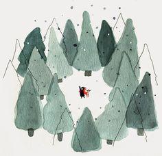 christmas countdown - beautiful winter illustrations #abitofacharacter