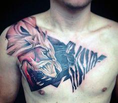 Zebra Lion Artistic Male Chest Tattoos