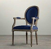Restoration Hardware Blue Velvet Dining Chair