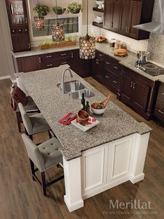 merillat classic cannonsburg maple cotton with tuscan glaze island and tolani oak kona - Merillat Classic Kitchen Cabinets