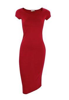 Solid Scoop Neck #Midi Dress