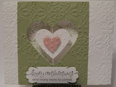 """In My Craft Room: A """"suspension"""" card - using Blossom Punch; Adorning Accents Embossing Folder; Heart Framelits Dies."""