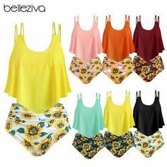 Womens Summer Push Up Bikini Set Swimwear Sunflower Print Swimsuit Bathing Suits Peplum Swimsuit, Push Up Swimsuit, Bikini Set, Bikini Swimwear, Swimsuits, Sunflower Bikini, Sunflower Print, Clothes For Women, Link