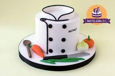 Torta personalizada para un cocinero, cocinera o chef / Custom cake for a cook or a chef. Happy Birthday Chef, Funny Birthday Cakes, Themed Birthday Cakes, Themed Cakes, Bolo Fondant, Fondant Cakes, Cupcake Cakes, Fondant Cake Designs, Chef Cake
