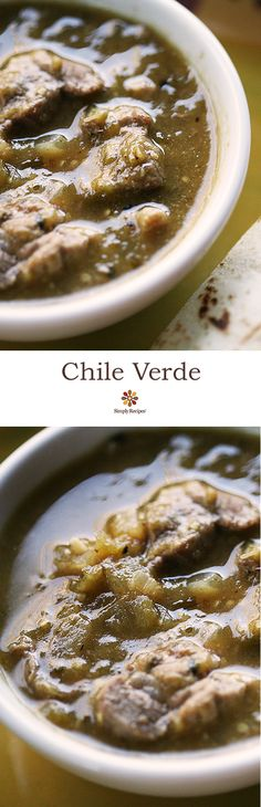 Best Mexican chile verde recipe! Cubes of pork shoulder simmered in tomatillo sauce. On SimplyRecipes.com