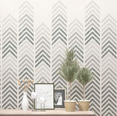 Geometric wall art stencil. Allover stencil for your DIY decor project