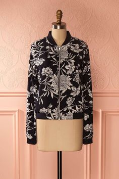 Makshi Red - Red bomber jacket with floral print www.1861.ca