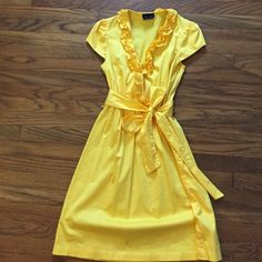 Adorable sunny yellow spring dress Perfect for spring events!  Yellow dress with ruffle details.  Perfect condition.  So sweet. Max & Cleo Dresses