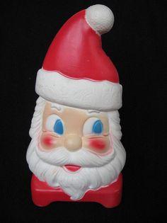 """Vintage Empire Carolina Christmas Santa Face Plastic Blowmold Light 12"""" Tall   eBay"""