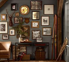Eclectic, homey and earthy... nice wall arrangement.  Could be great for decorating with pictures?