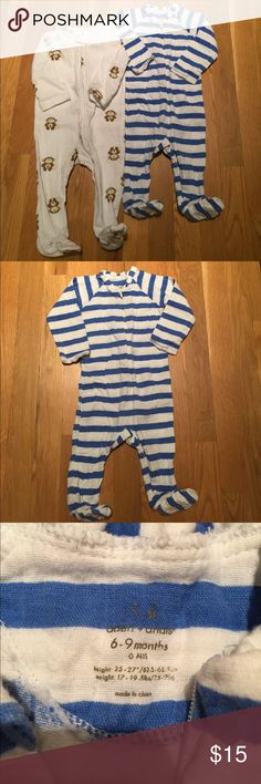 Aden and Anais Baby Boy Pajamas 6-9 Mos Set of 2 Soft and Cozy Aden by Aden & Anais Onesies.           Pre-owned in great condition(no stains or rips)  - zip up footed pajamas. Adorable design & print for boys=blue & white stripes and monkeys! Signature breathable Muslin cotton by Aden for Aden and Anais. aden + anais One Pieces Footies