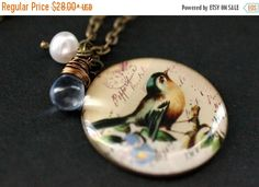 MOTHERS DAY SALE Bird Necklace. Song Bird Pendant Necklace with Pale Blue Glass Teardrop and Pearl. Song Bird Necklace. Bird Jewelry. Handma by StumblingOnSainthood from Stumbling On Sainthood. Find it now at http://ift.tt/2pDEiWD!